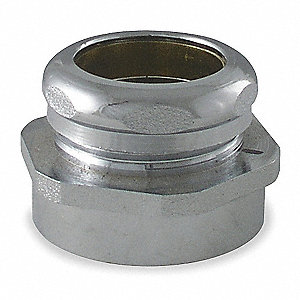 "Brass Chrome Waste Connector, 1-1/2"" x 1-1/4"" Pipe Dia., Slip x FIP Connection - Drains"