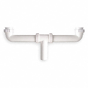 "Polypropylene White Center Outlet Waste Tee, 1-1/2"" Pipe Dia., Direct Connection or Slip Connection"