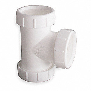 "Polypropylene White Tee, 1-1/2"" or 1-1/4"" Pipe Dia., Slip Connection - Drains"