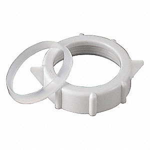 "Polypropylene White Slip-Nut And Washer, 1-1/4"" Pipe Dia., Slip Connection - Drains"