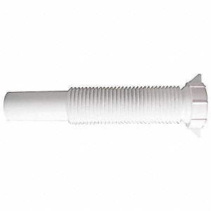 "Polypropylene White Extension, 1-1/4"" Pipe Dia., Slip Connection - Drains"