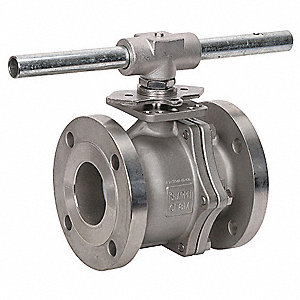 "316 Stainless Steel Flanged x Flanged Ball Valve, Locking Lever, 3"" Pipe Size"