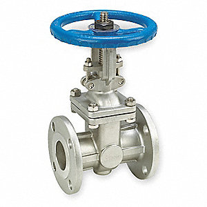 "Class 150 Flange Outside Stem and Yoke Gate Valve, Inlet to Outlet Length: 8"", Pipe Size: 3"", Max. F"
