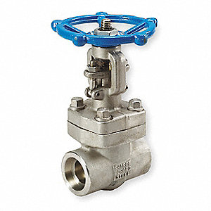 "Class 800 Socket Weld Gate Valve, Inlet to Outlet Length: 5"", Pipe Size: 1-1/2"", Max. Fluid Temp.: 8"