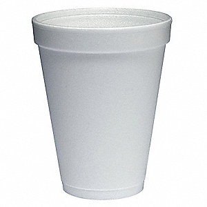 12 oz. Foam Disposable Cold/Hot Cup, White, 1000 PK