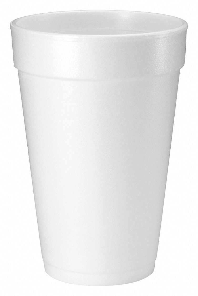 16 oz Foam Disposable Cold/Hot Cup, White, 1000 PK