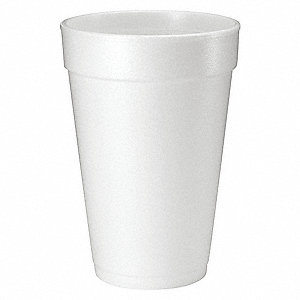 16 oz. Disposable Cold/Hot Cup, Polystyrene Foam, White, PK 1000