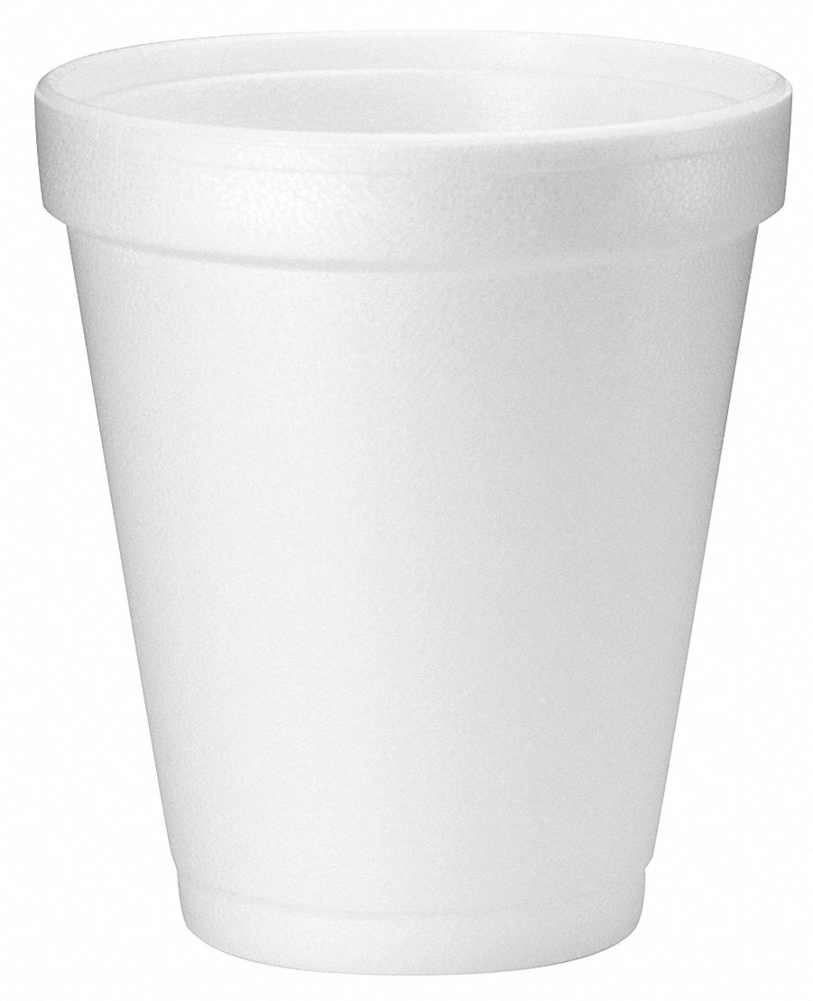 8 oz Foam Disposable Cold/Hot Cup, White, 1000 PK
