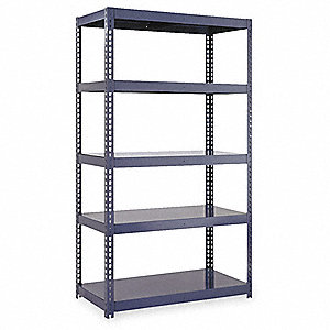 "Freestanding Boltless Shelving with Steel Decking, 5 Shelves, 60""W x 24""D x 84""H"