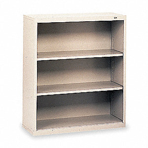 Welded Steel Bookcase,40in,3 Shelf,Gray