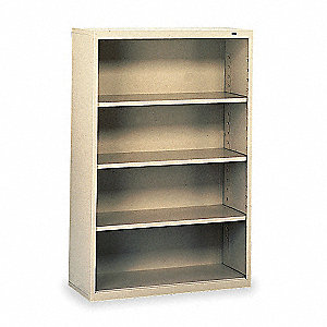 "34-1/2"" x 13-1/2"" x 52"" Stationary Bookcase with 4 Shelves, Champ/Putty"