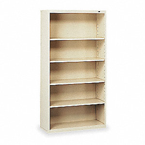 "34-1/2"" x 13-1/2"" x 66"" Stationary Bookcase with 5 Shelves, Champ/Putty"