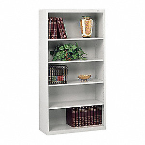 "34-1/2"" x 13-1/2"" x 66"" Stationary Bookcase with 5 Shelves, Light Gray"