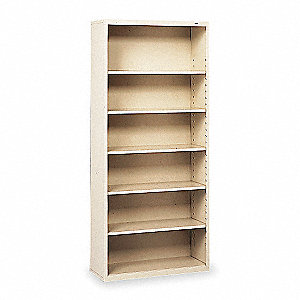 "34-1/2"" x 13-1/2"" x 78"" Stationary Bookcase with 6 Shelves, Champ/Putty"