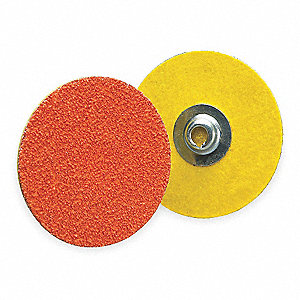 "1-1/2"" Quick Change Disc, Ceramic, Turn-On/Off, 60 Grit, Medium, Coated, R980, PK100"