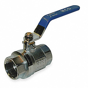 "Chrome-Plated Brass FNPT x FNPT Ball Valve, 1-1/2"" Pipe Size"