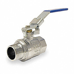 "Chrome-Plated Brass FNPT x MNPT Ball Valve, Locking Lever, 3/4"" Pipe Size"