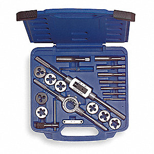 "Carbon Steel Tap and Die Set, SAE, Number of Pieces: 21, 1/4 to 3/4"" Size/Range"