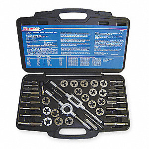 "Carbon Steel Tap and Die Set, SAE, Number of Pieces: 41, 1/4 to 3/4"" Size/Range"
