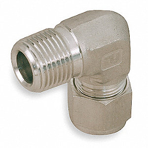 "Male Elbow, 3/4"" Tube Size, 3/4"" Pipe Size - Pipe Fitting, Metal, 1-1/16"" Hex Size"