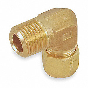 "Male Elbow, 90°, 5/8"" Tube Size, 1/2"" Pipe Size - Pipe Fitting, Metal, 15/16"" Hex Size"