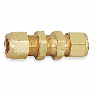 "Bulkhead Union, 1/4"" Tube Size, Metal, 17/32"" Hex Size"