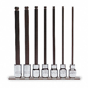 "Alloy Steel Socket Bit Set with 3/8"" Drive Size and Chrome Finish; Number of Pieces: 7"