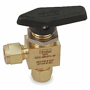 Brass Comp. x Comp. Mini Ball Valve, Lever