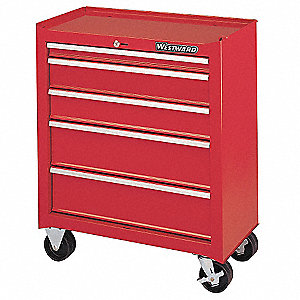 "Red Rolling Cabinet, Width: 26-1/2"", Depth: 14"", Height: 32"""
