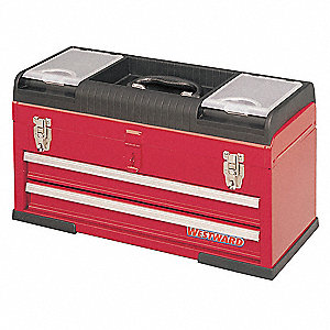 "Plastic, Steel Portable Tool Box, 11-1/4""H x 20-1/2""W x 8-5/8""D, 1500 cu. in., Red"