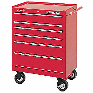 "Red Rolling Cabinet, Heavy Use, Width: 26-1/2"", Depth: 18"", Height: 34"""