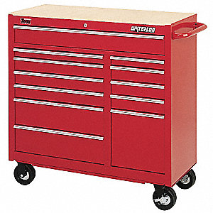 "Red Rolling Cabinet, Series TRAXX, Industrial, Heavy Duty, Width: 41"", Depth: 18"", Height: 41"""