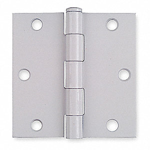 "3-1/2"" x 3-1/2"" Butt Hinge with White Enamel Finish, Full Mortise Mounting, Square Corners"