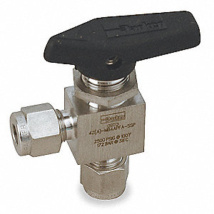 "316 Stainless Steel Comp. x Comp. Mini Ball Valve, Lever, 1/4"" Pipe Size"