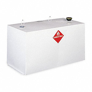White Rectangle Liquid Transfer Tank, 96 gal. Capacity, 14 Gauge Steel