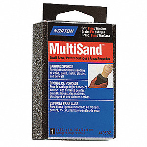 Sanding Sponge, Medium/Fine Grade, Gray, Package Quantity 6