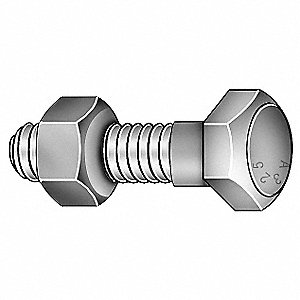 "4-3/4"" Steel Structural Bolt with Nut, A325 Type 1, 1-1/8""-7 Dia/Thread Size, 5 PK"