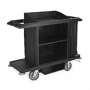 "60""L x 22""W x 50""H Black Housekeeping Cart, Number of Shelves: 3"