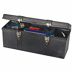 "Structural Foam Portable Tool Box, 10-1/2""H x 26""W x 8-3/4""D, 2037 cu. in., Black"