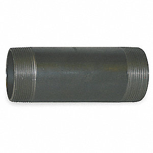 "2-1/2"" Black Steel Nipple, 8"" Overall Pipe Length, Threaded on Both Ends, Seamless, Pipe Schedule 16"