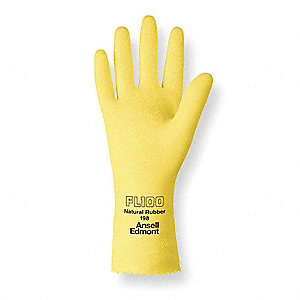 Latex Chemical Resistant Gloves, 17 mil Thickness, Flock Lining, Size 10, Yellow, PR 1