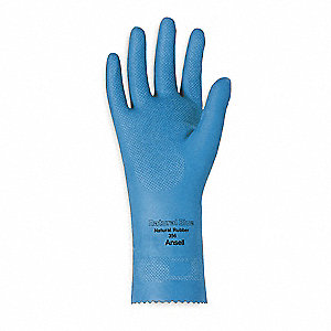 17.00 mil Natural Rubber Latex Chemical Resistant Gloves, Unlined Lining, Blue, Size 10