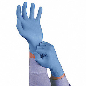 "9-1/2"" Powdered Unlined Textured Nitrile Disposable Gloves, Dark Blue, Size XL, 100PK"