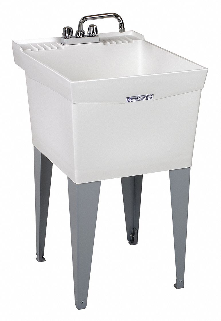 Utility Sink,  Polypropylene,  24 in Overall Length,  20 in Overall Width,  13 in Bowl Depth