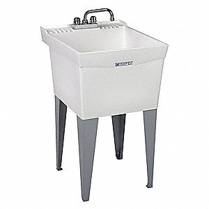 "Floor-Mount Utility Sink, 24"" x 20"" Square Bowl, White"