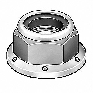 Lock Nut,1/2-13,Gr 2,Steel,ZP,PK25