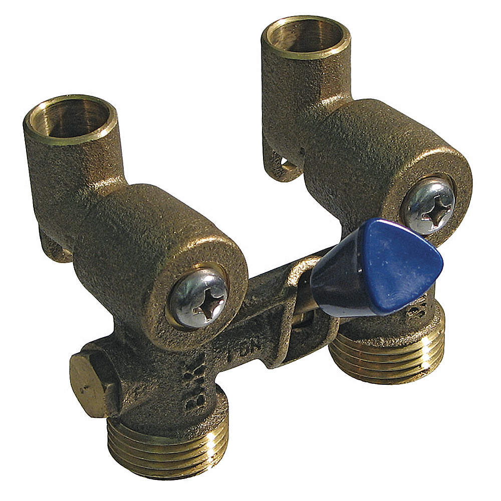 GRAINGER APPROVED Lever Brass Washing Machine Valve, C x C, Blue ...