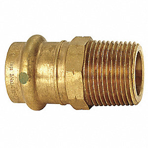 "Bronze Male Adapter, Press x MPT Connection Type, 1-1/4"" Tube Size"