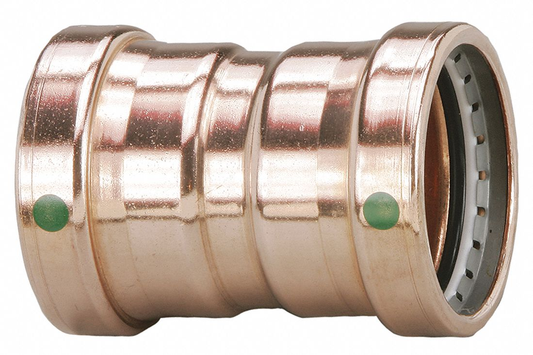 Copper XL Coupling with stop, Press x Press Connection Type, 2-1/2 in x 2-1/2 in Tube Size