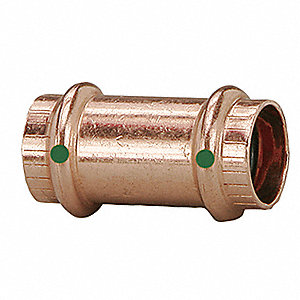 "Copper Coupling No Stop, Press x Press Connection Type, 3/4"" x 3/4"" Tube Size"